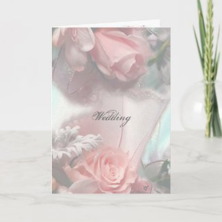 Soft Pink Roses Wedding Invitation Card