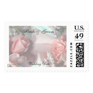 Soft Pink Roses Wedding Stamp