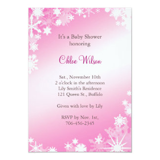 Soft Pink Snowflakes Baby Shower Invitation