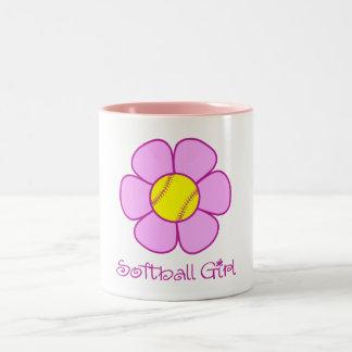 Soft Pink Softball Girl Two-Tone Coffee Mug