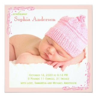 Soft Pink Swirl Baby Girl Photo Birth Announcement