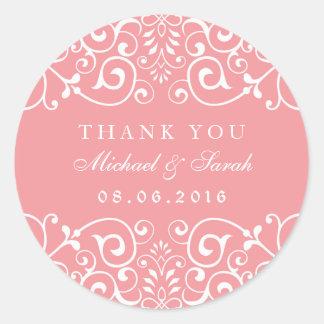 Soft Pink Swirl Flower Bridal Shower Favor Sticker