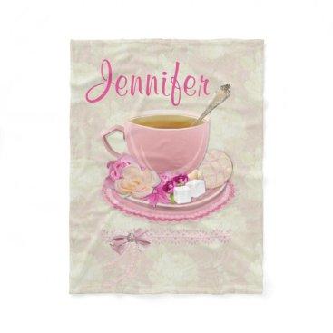 moondreamsmusic Soft Pink Tea Party Fleece Blanket