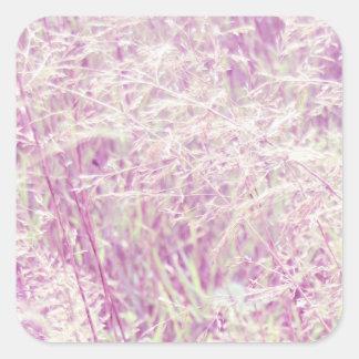 Soft Pink Tint Grass Square Sticker