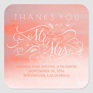 Soft Pink Watercolor Elegant Typography Thank You Square Sticker