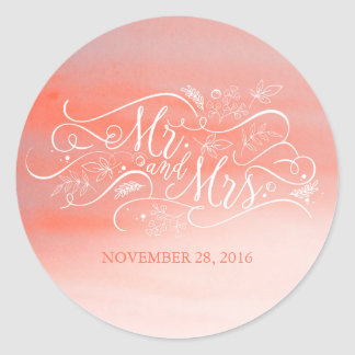 Soft Pink Watercolor Modern Typography Wedding Classic Round Sticker