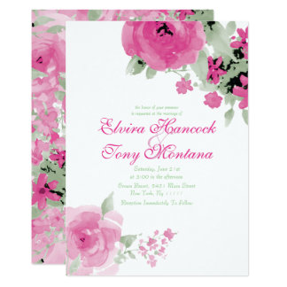 Soft Pink Watercolor Rose, Wedding Invitations