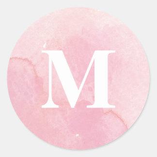 Soft pink watercolor wash monogram sticker