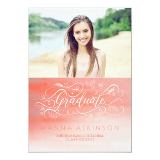 Soft Pink Watercolors Photo Graduation Card