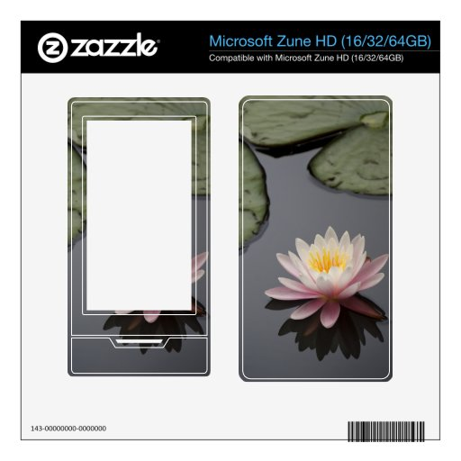 Soft Pink Waterlily Flower Decals For The Zune HD