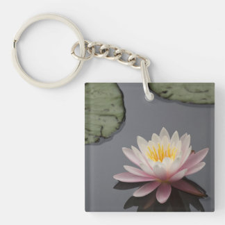 Soft Pink Waterlily Flower Double-Sided Square Acrylic Keychain