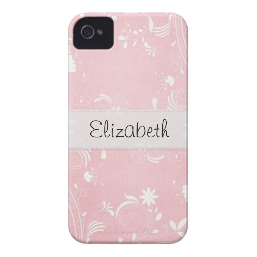Soft Pink & White Flowers Personalized Case-Mate iPhone 4 Case