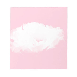 Soft Pink White Peony Floral pattern Notepad