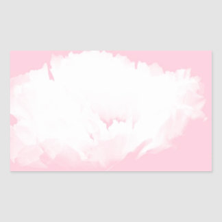 Soft Pink White Peony - Floral Rectangular Sticker