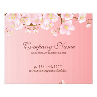 Soft Pink & White Spring Flowers Natural Spa Flyer