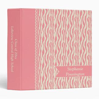 Soft pink zebra stripes graduation memory binder