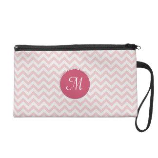 Soft pink zigzag pattern wristlet clutch