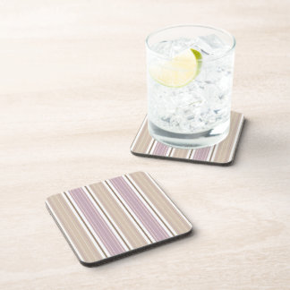 Soft Plum & Tan on White Shabby Chic Stripes Coaster