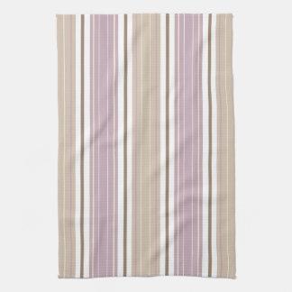 Soft Plum & Tan on White Shabby Chic Stripes Towel