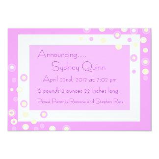 Soft Polka Dot Baby Girl Birth Annoucement Card