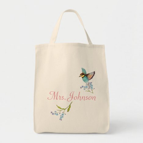 Soft Purple and Blue florals pretty bird name Tote Bag