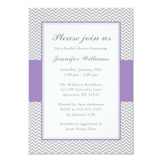 Soft Purple and Gray Chevron Bridal Shower Card