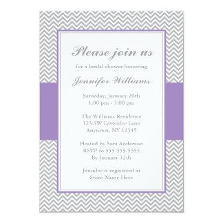 "Soft Purple and Gray Chevron Bridal Shower 5"" X 7"" Invitation Card"