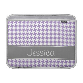 Soft Purple and Gray Houndstooth Personalized MacBook Air Sleeve