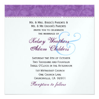 Soft Purple and White Damask Wedding Template Announcement