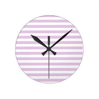 Soft Purple and White Stripes Clock