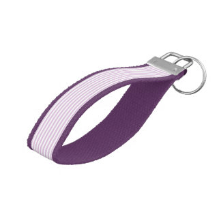 Soft Purple and White Stripes Wrist Keychain