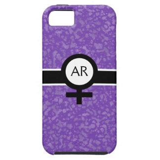 Soft Purple/Black/White+Female Sign+Your Initials iPhone 5 Cases