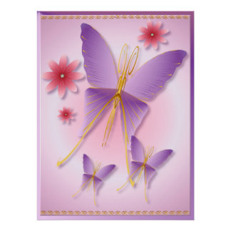Soft Purple Butterfly Poster
