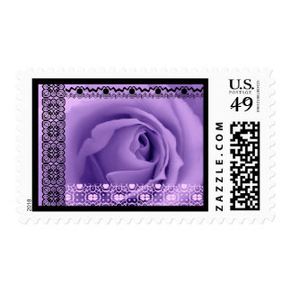 SOFT PURPLE DREAMS Rose LACE Border Wedding Stamp