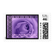 SOFT PURPLE DREAMS Rose LACE Border Wedding Stamp stamp