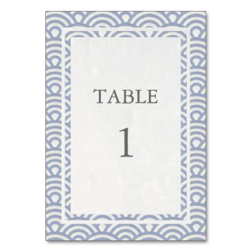 Beach Themed Soft Purple   White Japanese Seigha Table Number