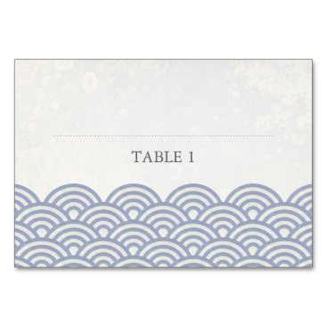 Beach Themed Soft Purple   White Stylized Waves Place Name Card
