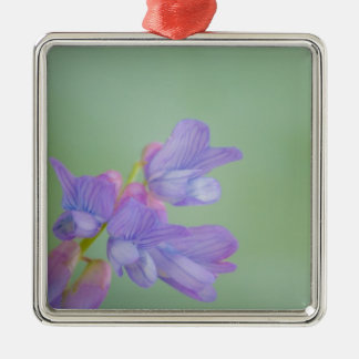 Soft Purple Wild Flowers with a Green Background Metal Ornament