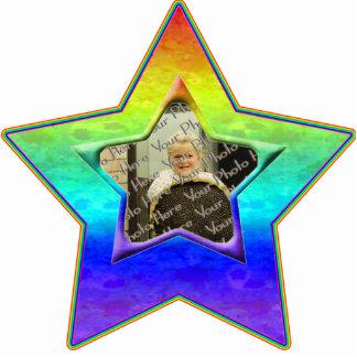 Soft Rainbow Custom Photo Star Ornament Photo Sculpture