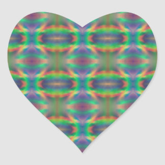 Soft Rainbow Lights Bands Abstract Design Heart Sticker