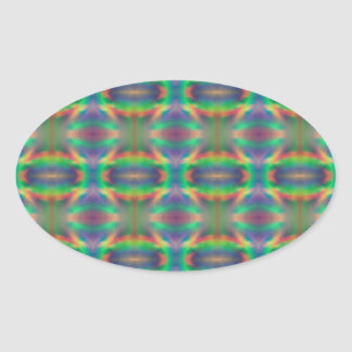 Soft Rainbow Lights Bands Abstract Design Oval Sticker