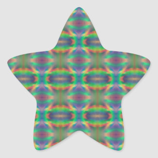 Soft Rainbow Lights Bands Abstract Design Star Sticker