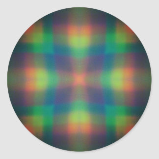Soft Rainbow Lights Squares Abstract Design Classic Round Sticker