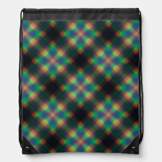 Soft Rainbow Lights Squares Abstract Design Drawstring Bag