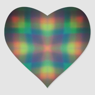 Soft Rainbow Lights Squares Abstract Design Heart Sticker