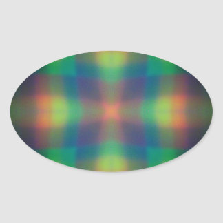 Soft Rainbow Lights Squares Abstract Design Oval Sticker