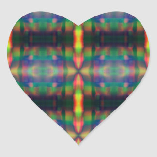Soft Rainbow Lights Stripes Abstract Design Heart Sticker
