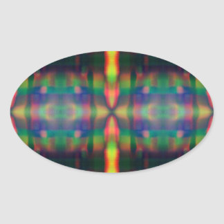 Soft Rainbow Lights Stripes Abstract Design Oval Sticker