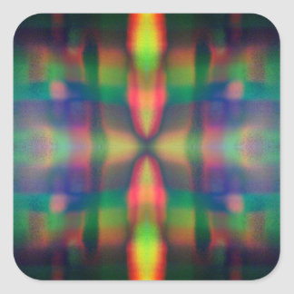 Soft Rainbow Lights Stripes Abstract Design Square Sticker