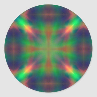 Soft Rainbow Lights X Shaped Abstract Design Classic Round Sticker